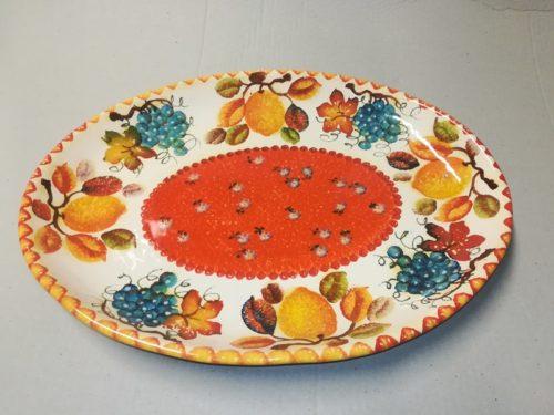 "Vassoio Ovale cm 43×32, Large Oval Tray ""Frutta Circolare"""