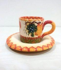 Espresso cup with saucer, tazza caffè con piattino