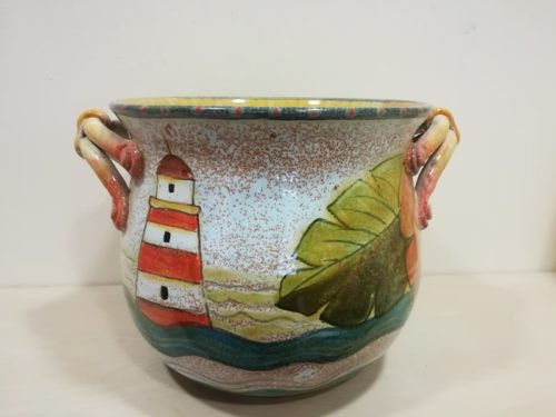 "Porta Vaso fiori cm 30,""Pesce e Faro"" Flowerpot holder cm 30, ""Fish and lighthouse"""