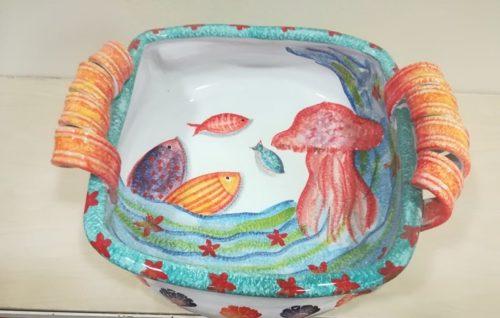 "Centrotavola cm 37,dec. ""Pesci e Medusa"" Centerpiece cm 37, dec. ""Fish and Jellyfish"""