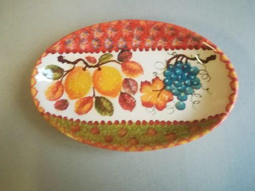"Vassoio Ovale cm 29×19, Oval Tray "" Frutta a Fasce"""