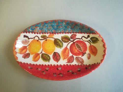 "Vassoio ovale alto cm 42×28, ""Frutta a Fasce"" Deep Oval Platter cm 42×28, ""Frutta a Fasce"""