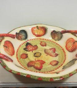 "Centrotavola basso con manici cm 44x36 decoro ""Zucca e foglie"" Centerpiece with handles decoration ""Pumpkin and leaves"""
