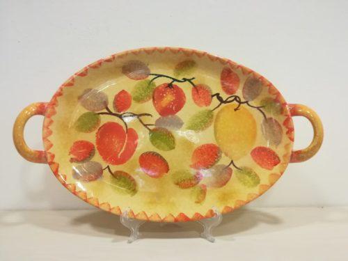 "Vassoio ovale con manici cm 42x25 decoro "" Limoni e frutta"" Oval Tray with handles decoration ""Lemons and fruits"""