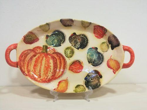 "Vassoio ovale con manici cm 42x25 decoro ""Zucca e foglie"" Oval Tray with handles decoration ""Pumpkin and leaves"""