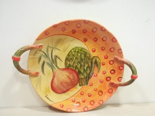 """Centrotavola basso con manici cm 45x35 decoro """"Cipolla e carciofo"""" Centerpiece with handles 45x35 decoration """"Onion and artichoke """""""