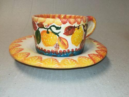 """azza The con piattino , dec """" Frutta a Fasce"""" Tea cup with saucer """"Frutta a Fasce"""""""